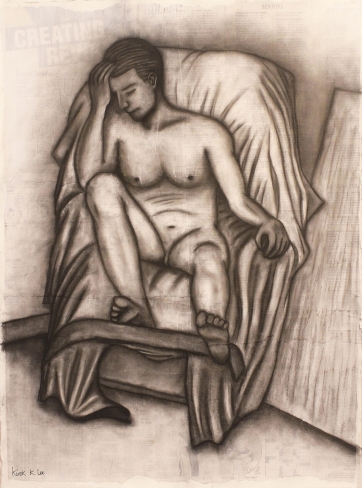 Life Drawing (Vine charcoal, pencil, ink)